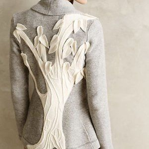 Anthropologie Tree applique Sweater Cardigan